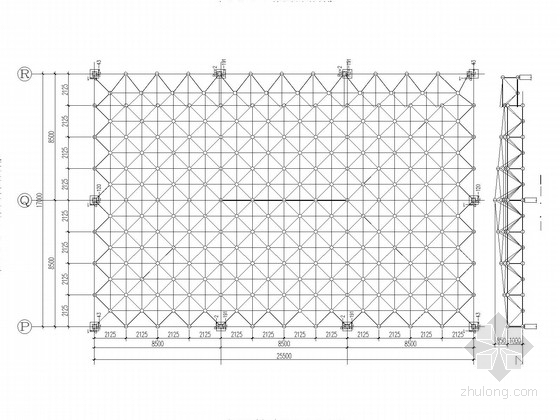 家居店中庭网架结构施工图