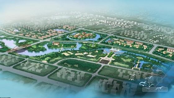 [广西]缤纷多彩滨水百里景观长廊景观规划设计方案-鸟瞰图
