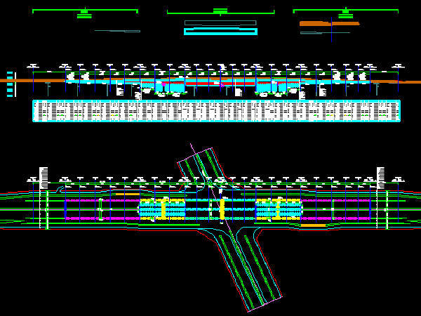 单孔三车道双跨矩形闭合框架城市主干路下穿隧道工程设计图纸59张CAD(U槽,喷锚防护)