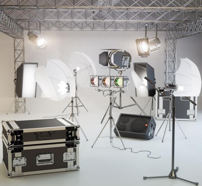 现代摄影灯具工具组合