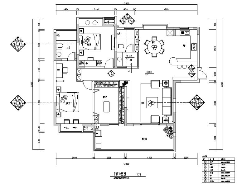 二居室现代简约住宅设计施工图(附效果图)