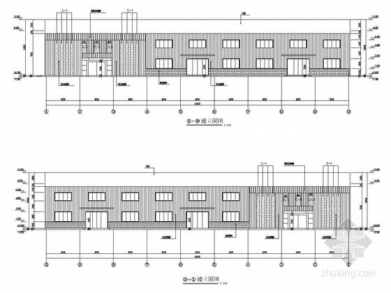 [江西]门式刚架结构汽车城仓储厂房结构施工图(5栋 含建筑图)