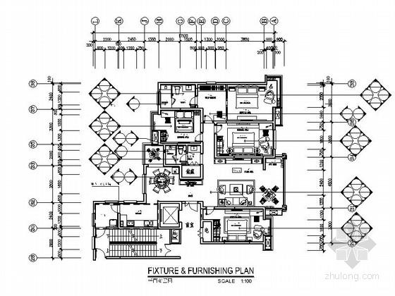 [西安]最新楼盘新中式风格四居室装修施工图(含效果图)