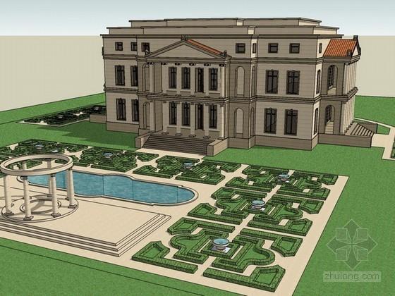 欧式市政厅sketchup模型