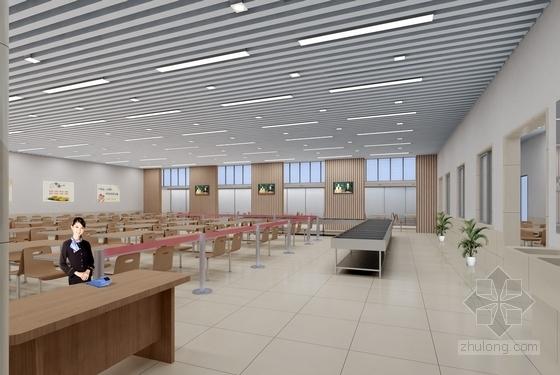 [北京]知名企业现代风格服务大厅室内CAD装修施工图(含效果图)餐厅效果图