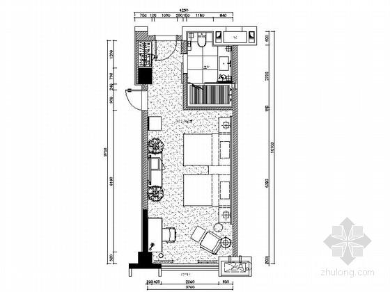[绵阳]5星酒店温馨标准双人间客房室内设计CAD施工图