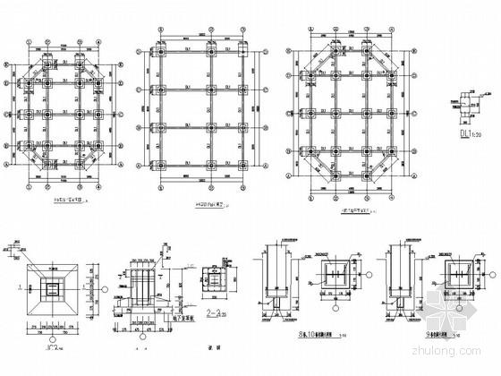 3栋三层钢框架结构商业楼结构施工图
