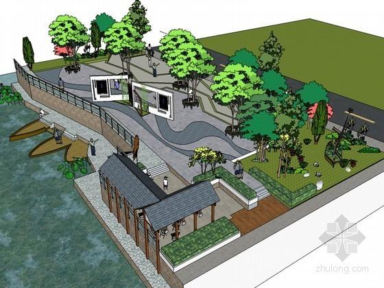 湖边广场SketchUp模型下载