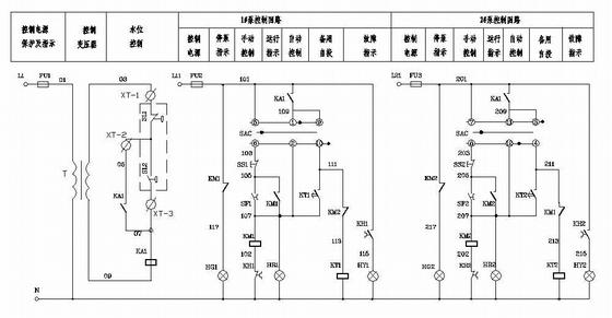 消防增压泵、喷淋泵二次回路控制原理图