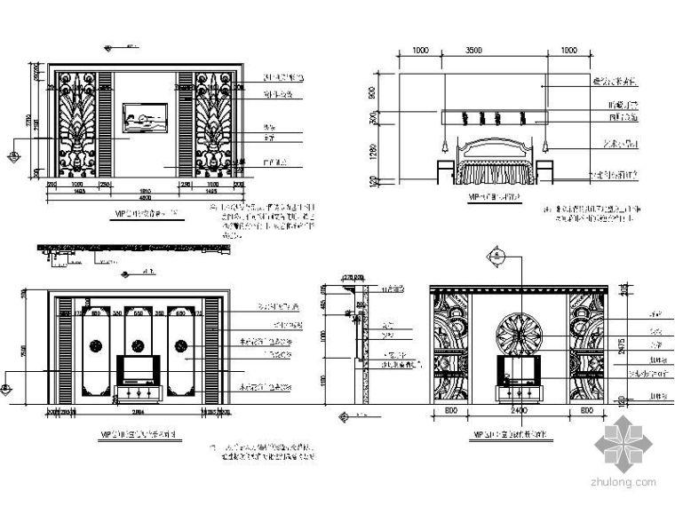 VIP包间立面图资料下载-娱乐城VIP包间卧室立面图