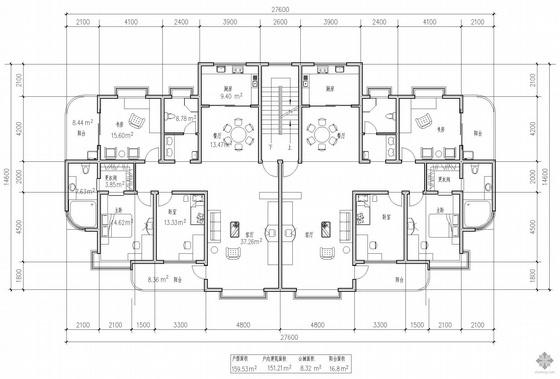 板式多层一梯两户二室一厅一卫户型图(160/160)
