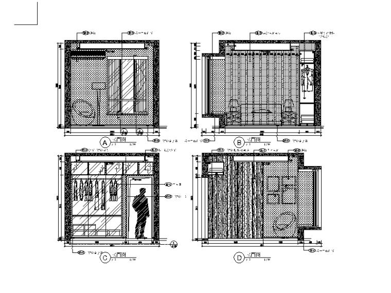 现代风格小户型设计CAD施工图(含效果图)_4
