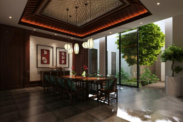 中式庭院餐厅3D模型