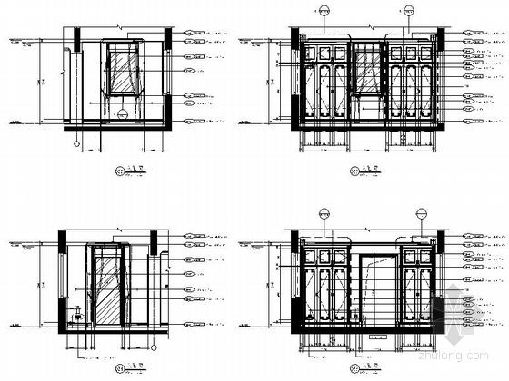[杭州]欧式顶层大居室样板房设计装修图主卧更衣室立面图