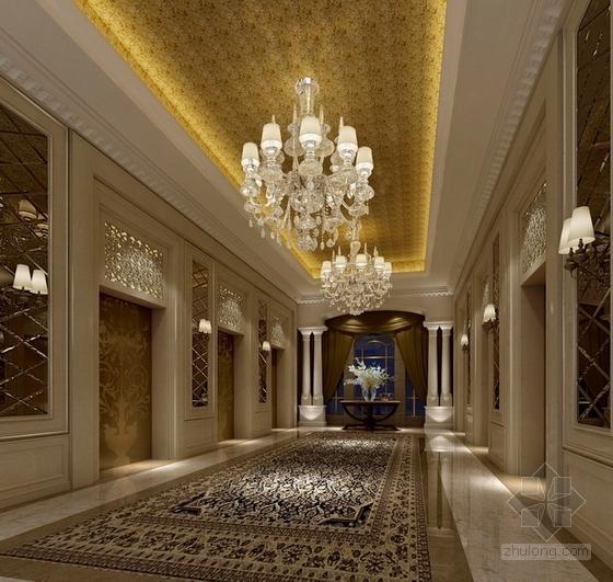 [天津]渤海之巅度假旅游区铂金超五星级酒店设计方案电梯间效果图