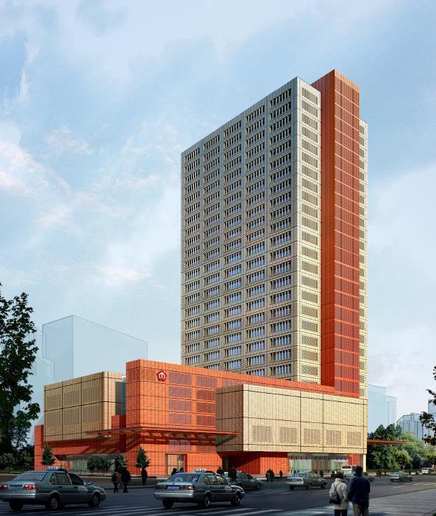 [四川]高层L形办公酒店综合体建筑设计方案文本(含CAD)