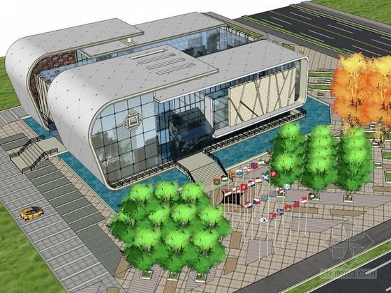 展览馆广场SketchUp模型下载