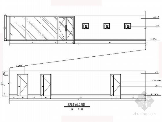 [沈阳]现代自然惬意楼盘物业办公室设计装修图(含效果)走廊立面图