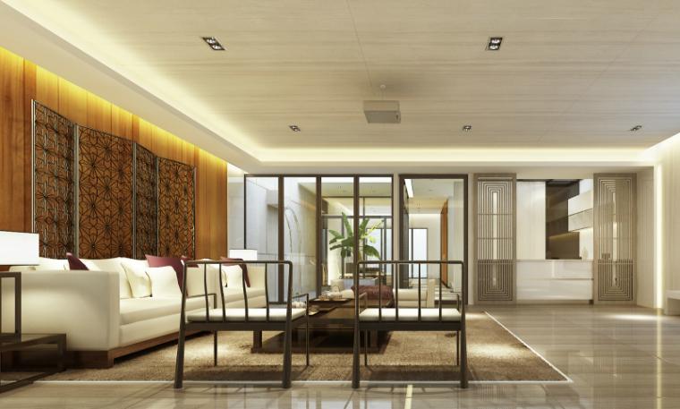 现代中式风格别墅设计CAD施工图(含效果图)_9