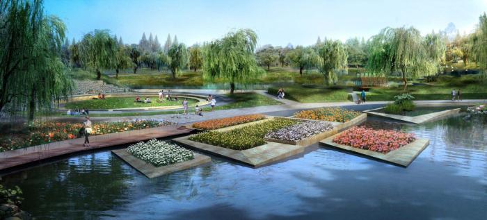 [四川]绿色城市生态滨水中心河道两岸景观规划设计方案