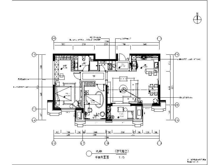 [大连]现代都会风格样板间设计施工图(含效果图)