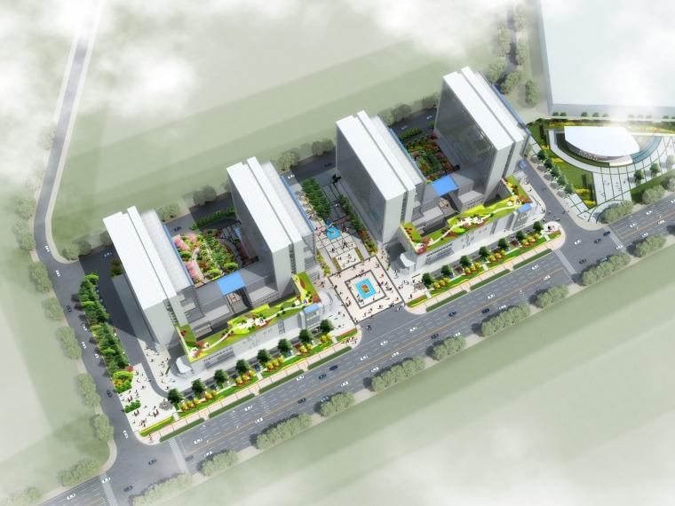 鸟瞰效果图-北海银河城市科技产业城(一、二期)景观方案第1张图片
