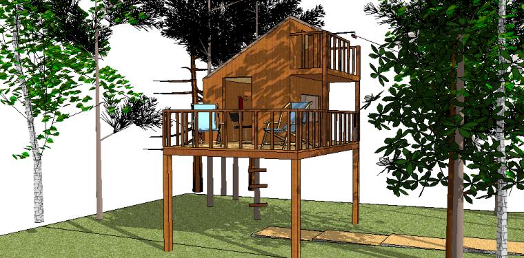 74套树屋·小木屋SU模型21-30