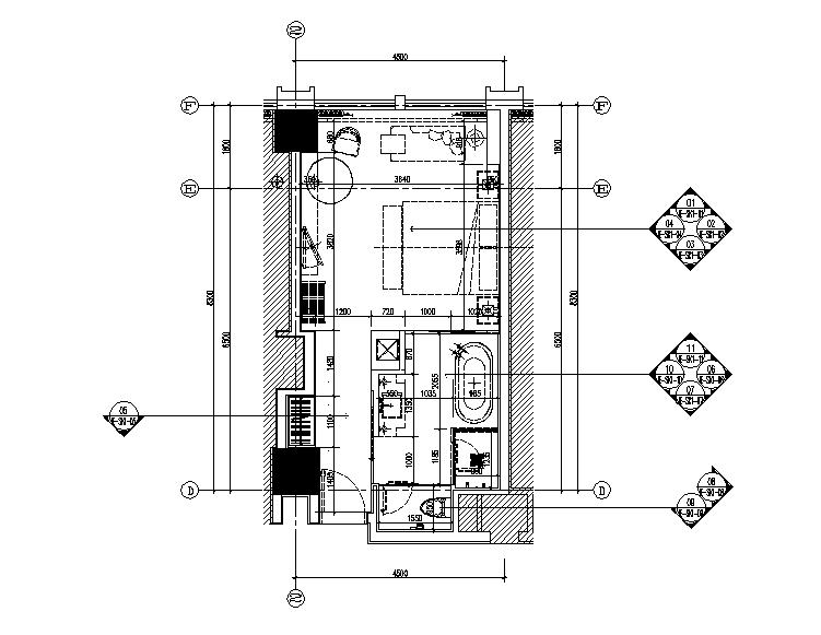 [湖南]某项目酒店样板间设计施工图(含效果图)