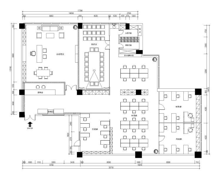 成都金穗融资担保有限公司办公空间装修施工图