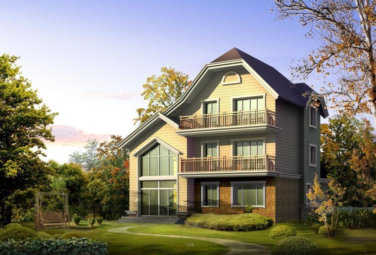 二层半独栋别墅,砌体结构别墅建筑文本(包含CAD+效果图)