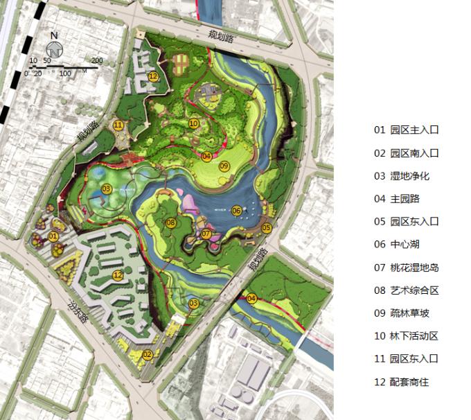 [山西]滨河崖壁生态立体化湿地公园景观设计方案-景观总平面图