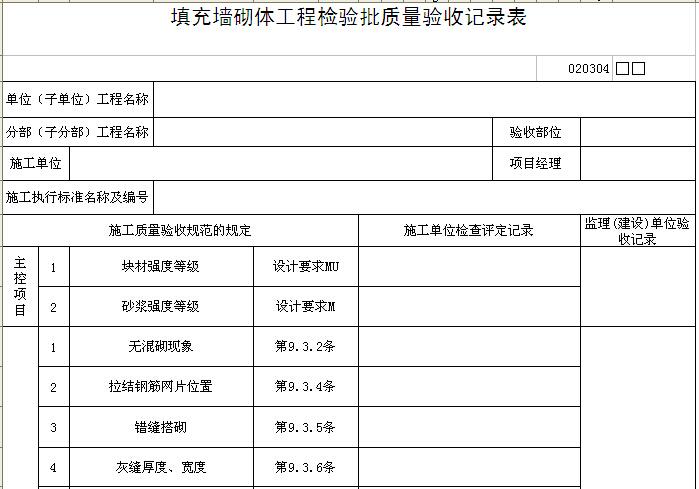填充墙砌体工程检验批质量验收记录表