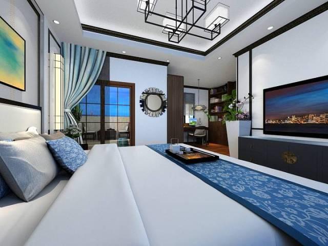 新中式魅蓝轩120平效果图-新中式《魅蓝轩》第6张图片