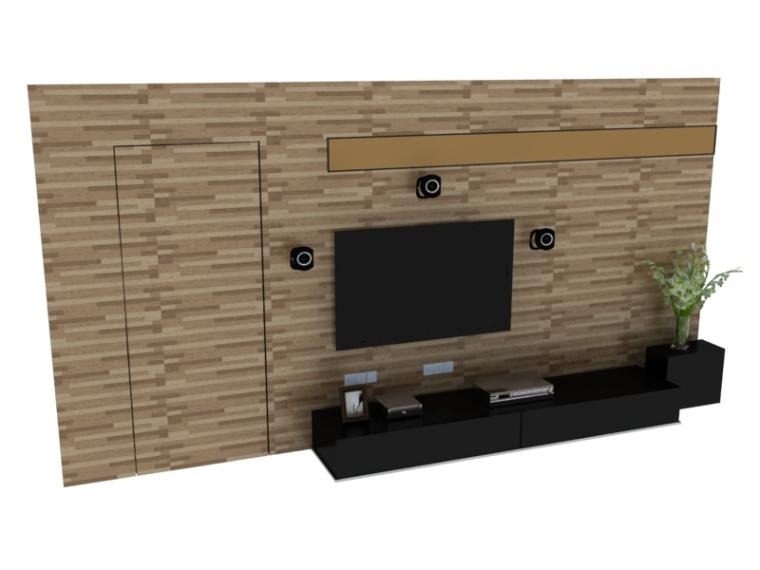 一体式电视墙3D模型下载