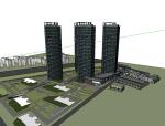 无锡盛高现代住宅高层平面立面总图方案1+方案2 skp人视1