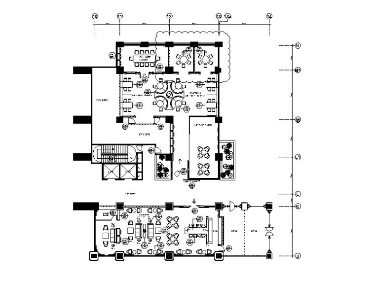 高端法式餐厅设计CAD施工图(含效果图)