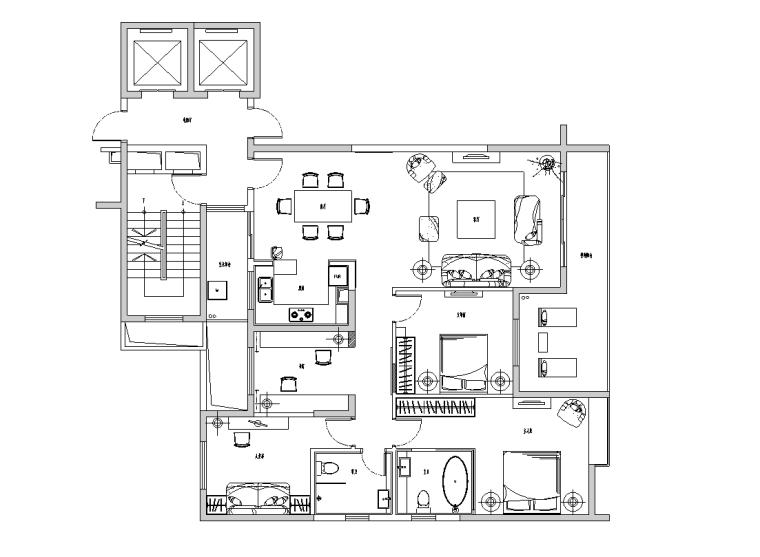 [四川]现代风格三居室装修详细施工图