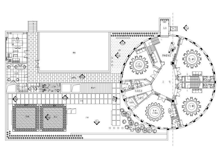 [南通]金螳螂——新中式大型餐厅内部装修全套施工图(附效果图)