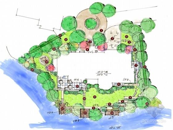 某别墅手绘景观规划设计方案