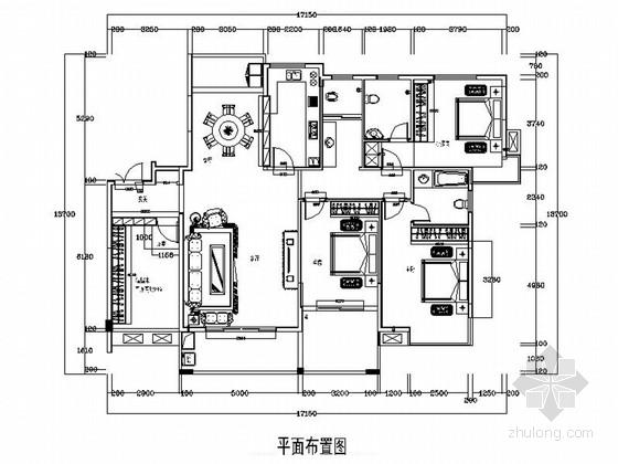 美式风格三居室样板间室内装修设计施工图(含效果)