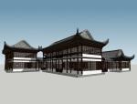 中式商业建筑SketchUp模型下载
