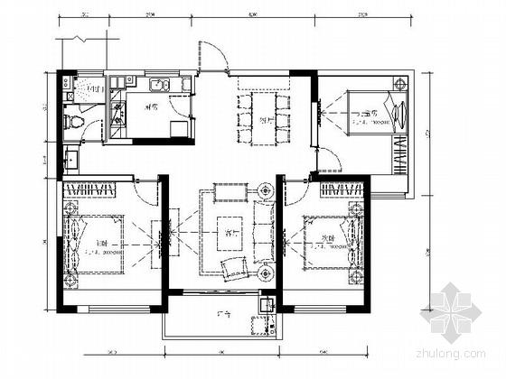 [南京]现代简洁三室两厅户型家装施工图