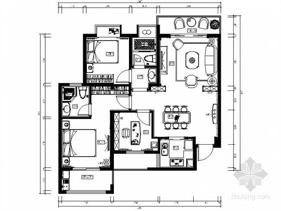 精品首府欧式风格三室两厅装修图(含效果)