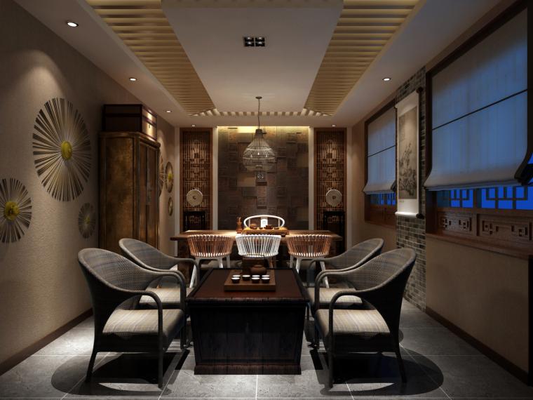 新中式风格的茶会所设计效果图(含3D模型,材质,光域网)