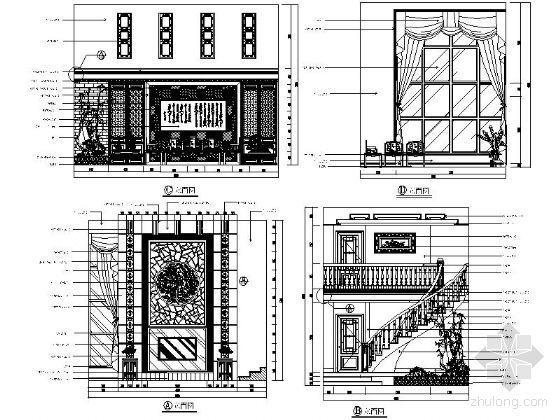 中式别墅客厅立面图