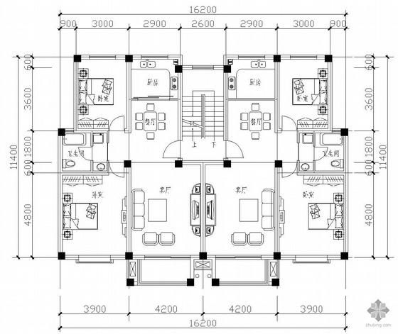 板式多层一梯二户二室一厅一卫户型图(94/94)