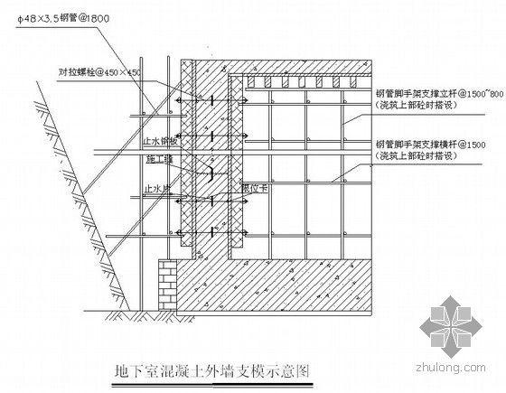 [湖北]框剪结构宝石型屋面会议中心施工组织设计(200余页附图)-地下室外墙支设示意图