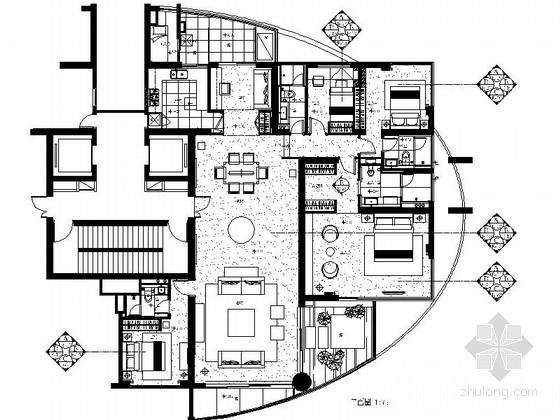 [四川]现代简约不规则户型3居室室内设计全套CAD施工图