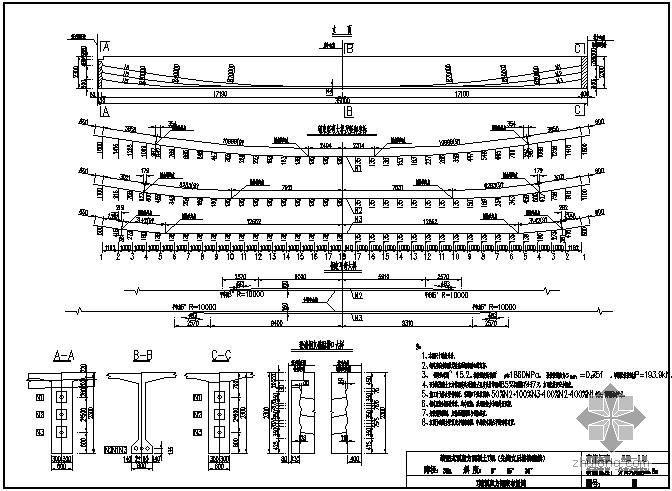 装配式预应力混凝土T梁桥(先简支后结构连续)上部构造通用图[跨径:35m,桥面宽度:分离式路基34.