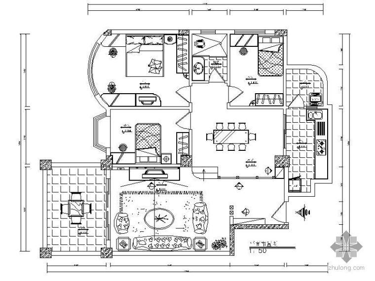 [广东]三室两厅设计方案图